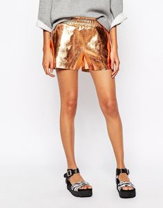 Story Of Lola | Story Of Lola Festival Leather Look Mini Boxer Shorts In Rose Gold Metallic at ASOS