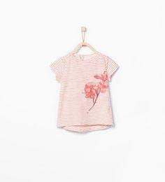 ZARA - KIDS - Flower print striped t-shirt