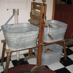 Antiques - Washing machine with square galvanized tubs. I'll bet this is how grandma washed clothes at one time. I have the wringer thing and my sister got the tubs.