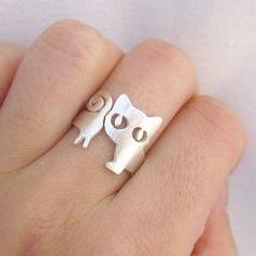 Little Cat Ring (Kitten) Silver Ring - handmade sterling silver ring via Smilingsilversmith