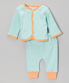 Loving this Sky Blue Organic Reversible Cardigan & Pants - Infant on #zulily! #zulilyfinds