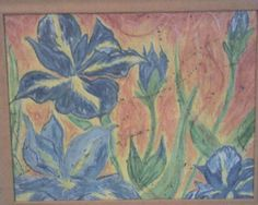 old and fading- oil pastel and metallic paint. Iris on Fire