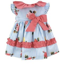 Baby Girls Summer Dress. Blue and Coral. Very Bright and Cheery. Perfect for holidays in 2019. Striped Flower Design with a beautiful large bow detail.  Matching Older Girl Dresses Available too. Payment Plans Welcome - orders over £50  #summergirlsdresses #babygirl #girlsdresses #bows
