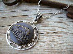 Handmade Steampunk Jewelry Victorian Button Jewelry Pocket Watch
