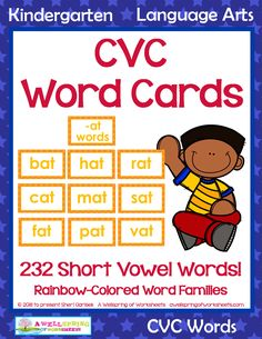Number Cards for Math Card Games Math Card Games, Cvc Word Families, Kindergarten Language Arts, Short Vowels, Cvc Words, Large Format, Fun Math, My Teacher, Math Centers