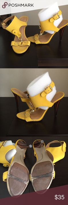 Yellow and gold strap heels. Yellow and gold strap with wooden heel design.  Started a fund for grandkids some proceeds will go to them. Thanks for helping 😘 Nine West Shoes Heels