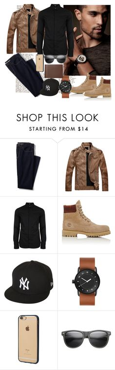 """""""Men in Beige..."""" by llelo on Polyvore featuring Lands' End, Versus, Timberland, New Era, Incase, ZeroUV, Royce Leather, Winter, black and beige"""