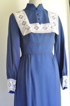 Vintage Folk Maxi long length dress Boho chic Prairie dress gypsy Angelair by Monika on Etsy, $60.00