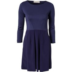 Cacharel Thelise Dress (2.445 BRL) ❤ liked on Polyvore featuring dresses, navy blue, womens-fashion, tall dresses, navy pleated dress, navy blue color dress, navy blue dress and blue 3 4 sleeve dress
