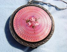 Antique Sterling Silver Pink Guilloche Enamel Dance Rouge Pot with Finger Chain | eBay