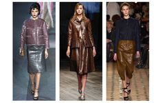 Leather done by: Caiman, Louis Vuitton, Prada Hermès  Crocodile was popular on the runway... seems like snakeskin and other specific animals will be popular this winter as well