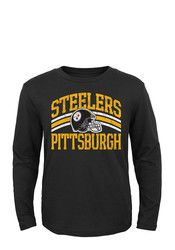 Pitt Steelers Kids Black Helmet Stripes T-Shirt