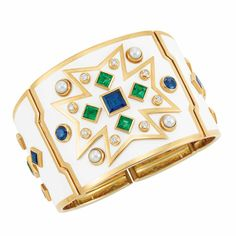 "Gold, White Enamel, Emerald, Sapphire, Diamond and Cultured Pearl ""Chevalier"" Cuff Bangle Bracelet, Verdura"