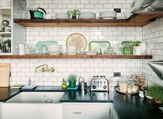 Keuken witte bakstenen