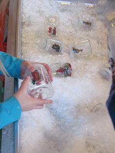 Make snow globes using fake snow in the sensory table - Winter Play Ideas from The Imagination Tree