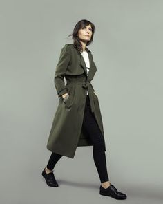 Sewing pattern for a long, flowing trench coat