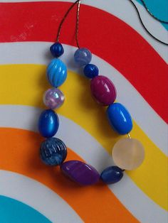 """Blueberry Hill"" Necklace with Vintage Lucite Beads ($28)"