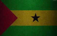 Scarica sfondi Bandiera di Sao Tomé e Principe, Africa, 4k, texture in pelle, bandiere dell'Africa, Sao Tomé e Principe