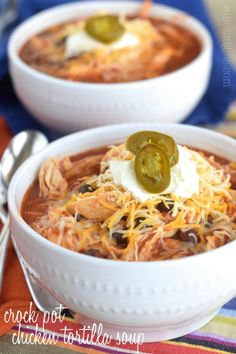 This Crock Pot Chicken Tortilla Soup couldn't be quicker to throw together, and it's such a delicious and healthy dinner, at less than 300 calories a bowl!