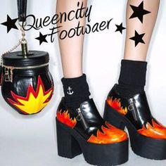 欧美日系原宿古着朋克摩登复古超高跟粗跟做旧火焰厚底鞋高跟鞋