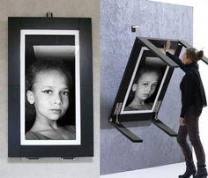 table murale rabattable et cadre photo noir et blanc 2 en 1