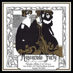 Art Deco Mascarade Party Invitation by Singlewide Designs