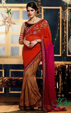 Butta Beige, Pink and Red Color Faux Georgette Saree