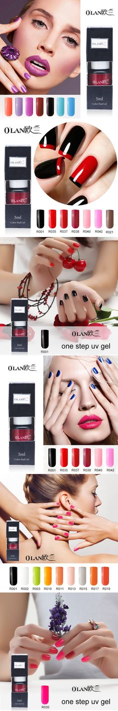 Olan 1 pieces/lot long lasting one step gel nail polish 3 in 1 vernis semi permanent gel varnishes nail glue vernis a ongle