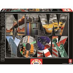 New York Collage 1000 Piece Puzzle features a collage of New York City's iconic landmarks!