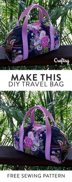 Sew your own travel bag. This free sewing pattern is perfect beginner project from Craftsy. jwt