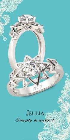 Jeulia Art Deco Round Cut Created White Sapphire Engagement Ring #Jeulia