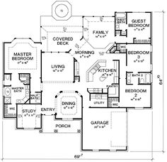 Plan Traditional, Corner Lot House Plans & Home Designs . Add a Basement and you have potential! Dream House Plans, House Floor Plans, My Dream Home, Dream Houses, Covered Decks, Walk In Pantry, House Layouts, Guest Bath, Building Plans