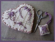embroidered lavender heart
