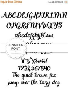 80% off Entire Shop Jennifer Script Font - Instant Download - Digital Artwork by mormonlinkshop  1.00 USD  An elegant handwritten font great for all ages classes activities etc. Hang this now! The JPEG OTF(.otf) and TTF(.ttf) files will become available for instant download once your payment is confirmed. Once purchased this file may be printed as many times as you like for personal use. Please respect the copyright and don't distribute sell or share this digital file with others. INCLUDED…