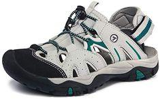 $32.98 SIZE 6  ATIKA Women Athletic Outdoor Sandal, Closed Toe Lightweight Walking Water Shoes, Summer Sport Hiking Sandals ATIKA Light Grey & Green