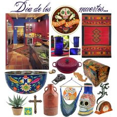 Dia de los muertos - mexican kitchen by vacskamati85 on Polyvore featuring interior, interiors, interior design, home, home decor, interior decorating, NOVICA, Dot & Bo, Crate and Barrel and Totally Bamboo