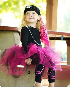 Pink and Black Pirate Tutu Halloween by happycakescreations, $44.00