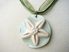 Sea Green Starfish Necklace Handmade Clay by TinaFrancisDesigns
