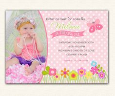Butterfly Birthday Invitation PRINTABLE with Photo - Garden Party for Girls 1st Birthday - Polka Dot Pink Green Flowers Spring
