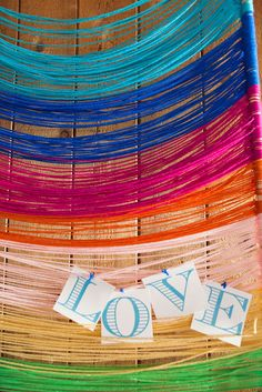 15 ways to use yarn in weddings. my personal favorite: backdrop for ceremony/photos!