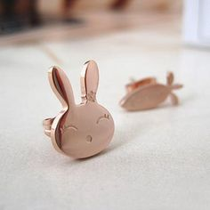 I love rose gold--it's so pretty  Rose Gold Bunny Earrings
