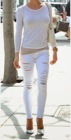 Kristin Cavallari - celebrity street style in all white in Los Angeles