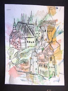 The 5th and 6th graders have been studying the Medieval time period in their Social Studies class. For this project, the 5th and 6th graders looked at pictures of castles and drew their own castle using pencil and pens. Then, they added watercolor washes to the picture.