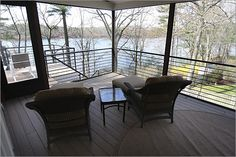screened porch,, natick,MA Love the view, but I would do something a little different with the furnishings.......make it a little cozier.