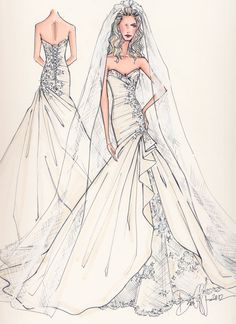 Custom Bridal Illustration FRONT AND BACK. $190.00, via Etsy.