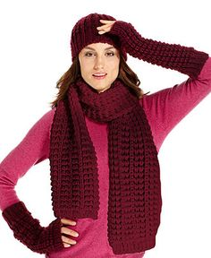 Nine West Textured Knit, Scarf, Hat and Armwarmers - Nine West - Handbags & Accessories - Macy's