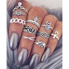 Boho jewelry style Rings(set of 10)#516145