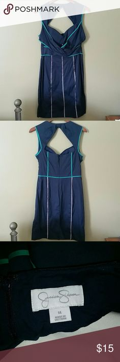 Navy Jessica Simpson Sundress Cute Jessica Simpson Sundress with a sweetheart neckline and keyhole back. Teal and beige detailing along bodice and skirt. Flattering draping underneath the bust helps slim the waist. Jessica Simpson Dresses Asymmetrical