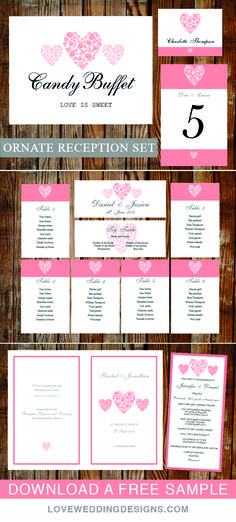 Printable reception set, everything you need for your ceremony and venue. Easy to edit and print. View the collection and download a free sample.