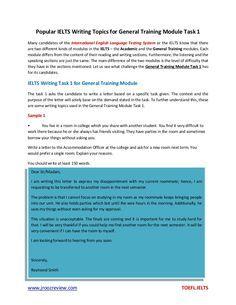 Popular ielts writing topics for general training module task 1